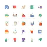 Icônes 8 de vecteur colorées par voyage Image libre de droits
