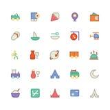 Icônes 9 de vecteur colorées par voyage Photographie stock libre de droits
