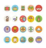 Icônes 3 de vecteur colorées par voyage illustration stock