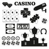 Icônes de vecteur d'éléments de conception de casino Jeux de casino Ace jouant c Photos stock
