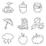 Icônes de vecteur d'automne Photos libres de droits