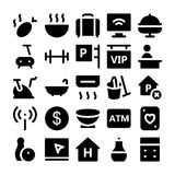 Icônes 6 de vecteur d'hôtel et de restaurant Image stock