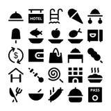 Icônes 3 de vecteur d'hôtel et de restaurant Image libre de droits