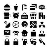 Icônes 5 de vecteur d'hôtel et de restaurant Photos libres de droits