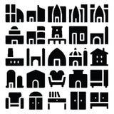 Icônes 5 de vecteur de bâtiment et de meubles Images stock