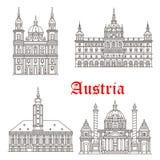 Icônes de vecteur de bâtiments d'architecture de l'Autriche Image libre de droits