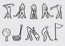 Icônes de vecteur de bande dessinée de sports de golf Images libres de droits