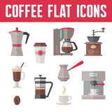 Icônes de vecteur de café dans le style plat de conception Photographie stock libre de droits