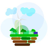 Icônes de vecteur de concept d'écologie réglées pour l'environnement, énergie verte illustration de vecteur