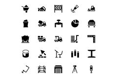 Icônes 5 de vecteur de construction Photos libres de droits
