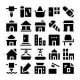 Icônes 6 de vecteur de construction Images stock