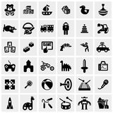 Icônes de vecteur de jouets réglées sur le gris Photos stock