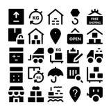 Icônes 3 de vecteur de la livraison de logistique Images libres de droits