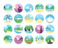 Icônes 1 de vecteur de paysages illustration stock