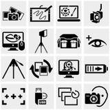 Icônes de vecteur de photo réglées sur le gris Photos stock