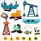 Icônes de vecteur de pollution environnementale Photographie stock libre de droits