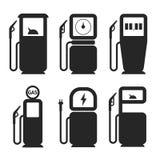 Icônes de vecteur de pompe à gaz et à essence réglées illustration stock