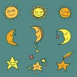 Icônes de vecteur de Sun, de lune et d'étoiles Photo libre de droits