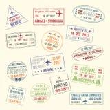 Icônes de vecteur de timbre de passeport de ville de voyage illustration de vecteur