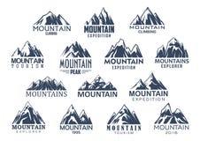 Icônes de vecteur de tourisme et de sport de montagne réglées illustration de vecteur