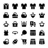 Icônes 14 de vecteur de vêtements Photos stock