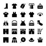 Icônes 10 de vecteur de vêtements Photo stock