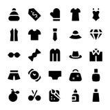 Icônes 3 de vecteur de vêtements Images stock