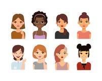 Icônes de vecteur de visage d'emoji de femme Photographie stock