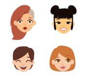 Icônes de vecteur de visage d'emoji de femme Photo libre de droits