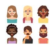 Icônes de vecteur de visage d'emoji de femme Image libre de droits