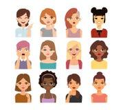 Icônes de vecteur de visage d'emoji de femme Images stock