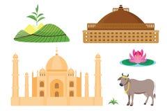 Icônes de vecteur de voyage d'Inde Images libres de droits