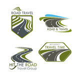 Icônes de vecteur de voyage et de tourisme de route réglées Image libre de droits