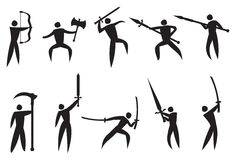 Icônes de vecteur des arts martiaux et des armes Photo stock