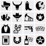 Icônes de vecteur du Texas réglées sur le gris. Image stock