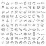 100 icônes de vecteur réglées Image libre de droits