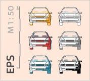 Ic?nes de vecteur de voiture r?gl?es pour le dessin et l'illustration architecturaux illustration de vecteur