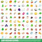 100 icônes de vegan réglées, style 3d isométrique Photo libre de droits