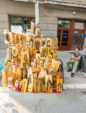 Icônes de vendeur sur la rue Leshkovtsev en Serbie Image stock