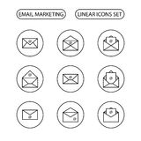 Icônes de vente d'email réglées illustration stock