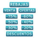 Icônes de vente dans l'Espagnol Photo stock