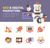 Icônes de vente de SEO et de Digital Images libres de droits