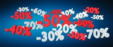 Icônes de ventes flottant dans le rendu de l'air 3D Photographie stock libre de droits