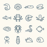 Icônes de vie marine Photo stock
