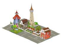 Icônes de ville, bâtiments, detailes de parc Photographie stock libre de droits