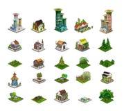 Icônes de ville, bâtiments, pièce de detailes de parc de collection Image libre de droits