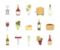 Icônes de vin Images libres de droits