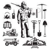 Icônes de vintage d'industrie minière réglées