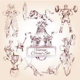 Icônes de vintage de cirque réglées illustration stock