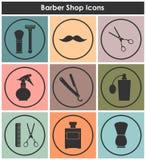 Icônes de vintage de raseur-coiffeur réglées Photos libres de droits